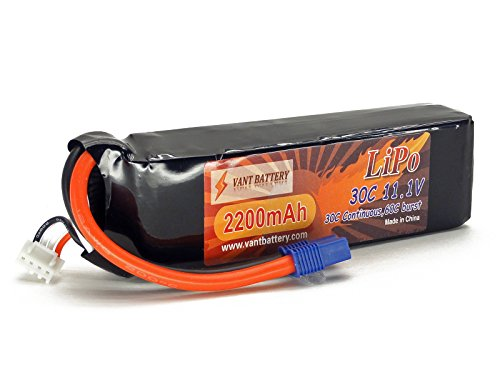 11.1V 2200mAh 3S Cell 30C-60C LiPo Battery Pack w/ EC3 EC-3 Connector Plug (Airplane Helicopter Quadcopter Multirotor Drone UAV FPV 3S2200-20E EFLB22003S30) (Cheap Lipo Batteries compare prices)