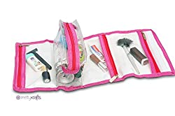 PrettyKrafts Multifunction Hanging Travel Cosmetic Bag - Foldable Makeup Pouch - Toiletry Zipper Wash Organizer - Pink