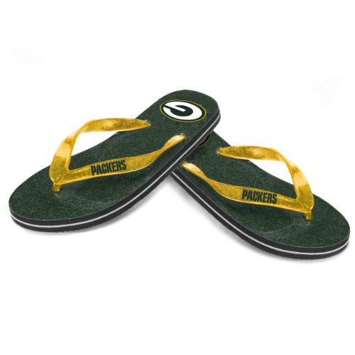 Green Bay Packers Women'S Glitter Thong Flip Flop