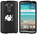 LG G3 Vigor Snap On 2 Piece Rubber Hard Case Cover Drum Set Black