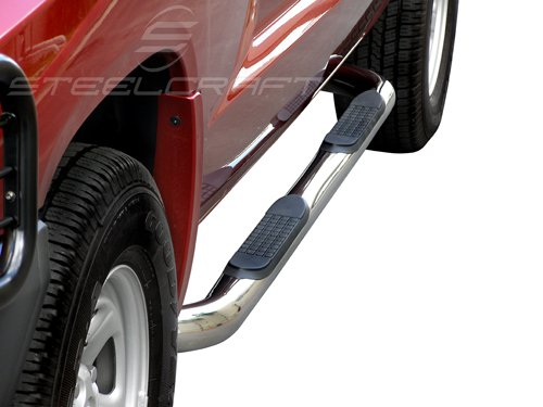 2pcs with Mounting Bracket Kit Custom Fit 99-Up Silverado//Sierra Extended//Ext Cab Stainless Steel 3 Side Step Nerf Bars Running Boards