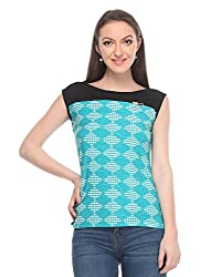 Wearsense Women's Top (Blue and Black, Medium)
