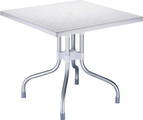 hochwertiger Aluminium Gartentisch FORZA 80 x 80 cm, Höhe 72 cm, Platz sparender Klapptisch, ideal für den Balkon & Camping weiß
