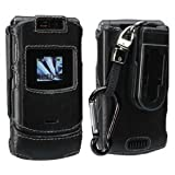 Black Front and Back Wrapped Leather Shell with Detachable Ratcheting 360° ....