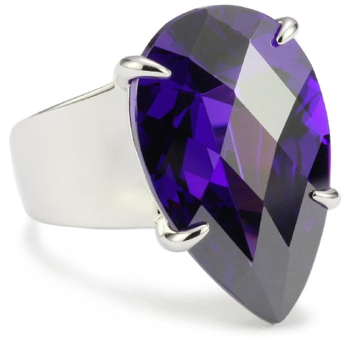 ELLE Jewelry Purple Blue Cubic Zirconia Pear Sterling Silver Ring, Size 9