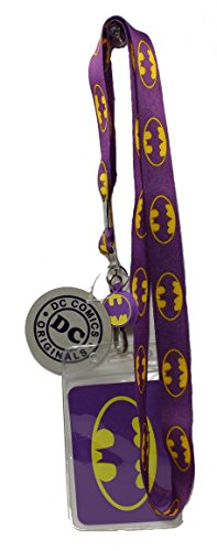 Lanyard with Charm Batman Multi Logo on Purple Lanyard