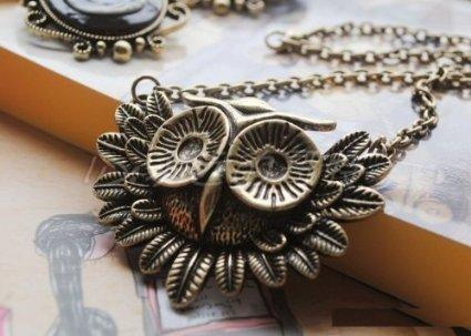 Vintage Owl Necklace Long Pattern Necklace Coat