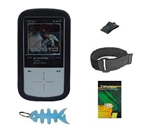 HappyZone - Black Silicone Skin Case + Adjustable Armband + Belt Clip + LCD Screen Protector + Light Blue Fishbone Style Keychain For Sandisk Sansa Fuze+ Plus 4GB 8GB 16GB MP3 Player