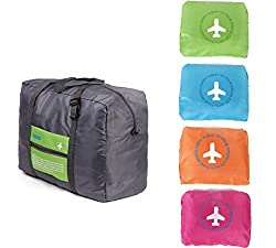 Di Grazia Foldable Waterproof Large Capacity Travel Cabin Luggage bag;Duffel Rucksack with Trolley Jacket - Green Color