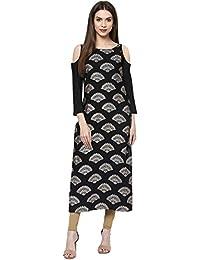 Ziyaa Casual Wear Black Colour Cold Shoulder Foil Print Crepe Kurti