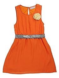 Sleeve less poly chiffon dress with flower and belt@waist