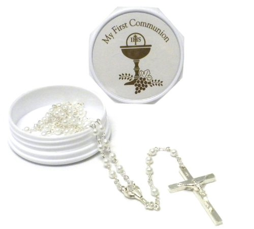 "2.25"" My First Communion Keepsake Box with Rosary (White) - 1"