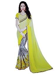LolyDoll Women's Chiffon Floral Printed Yellow Bollywood Saree, Casual/Festival_SR20