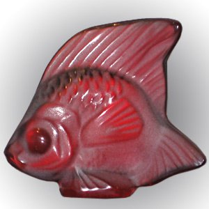 Lalique Crystal Fish Golden Red