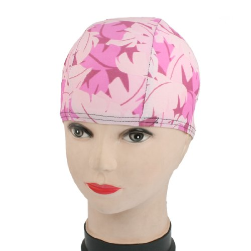 Children Colorful Leaf Fiber Elastic Swimming Swim Cap Hat