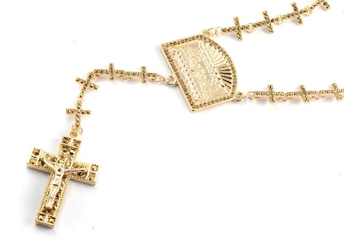 New! Iced Out Cross Linked Chain Rosary w/ The Last Supper & Paves Cross GOLD