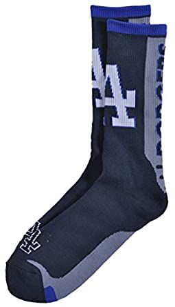 Buy For Bare Feet MLB LA Dodgers Jump Key Curve Sport Sock 10-13 by For Bare Feet