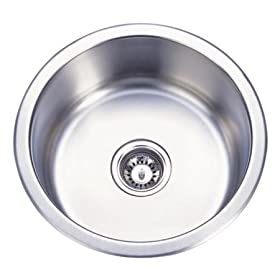 Gourmetier KUR17179BN Mission Stainless Steel Under mount Round Single Bowl kitchen Sink, Brushed Ni