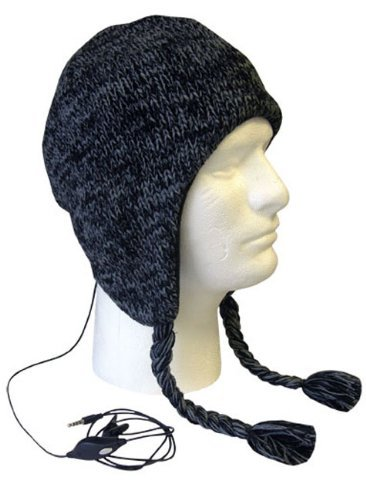 Boss Tech Products, Inc. Btp-Hat-Blkgry Aviator Style Knit Hat With Earflaps And Built-In Stereo Headset - Retail Packaging - Black/Gray