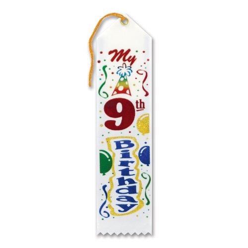 """My 9th Birthday Award Ribbon 2"""" x 8"""" Party Accessory"""