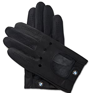 Bmw Logo Black Leather Driving Gloves Large by BMW