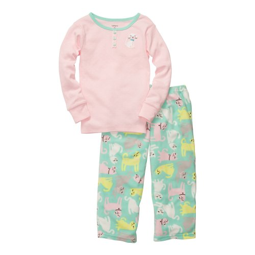 Carter'S 2-Pc L/S Embroidery Set - Pointelle Kitty- 3T front-1018175