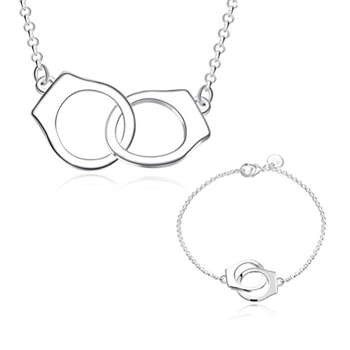 [ISABELLE Romantic Handcuffs Necklace and Bracelet Jewelry Set Silver Plated for Women and Girls] (Costumes Jewelry Online)