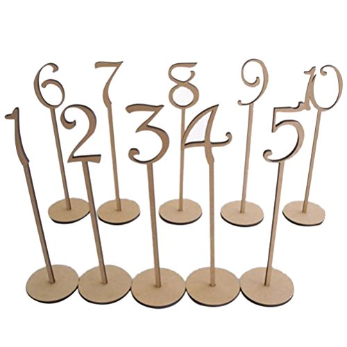 Tinksky 1-10 Wedding Table Numbers with Holder Base for Wedding Home Decoration 10pcs (Wood Color)