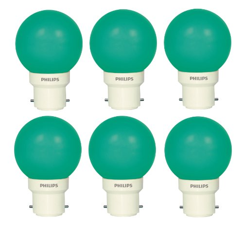 Philips Philips Deco Mini 0.5-Watt B22 Base LED Bulb (Green And Pack Of 6)