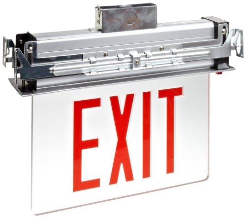 Morris Products 73332 Recessed Mount Edge Lit LED Exit Sign, Red on clear Panel Color, Black Housing