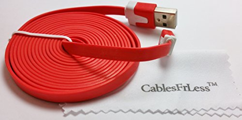 Cablesfrless 6Ft Tangle Free Noodle Style Micro Usb Charging / Data Sync Cable Fits Most Android Devices (Red)