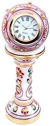 Little India Ethnic Design Marble Table Clock Handicraft  (White,HCF145)