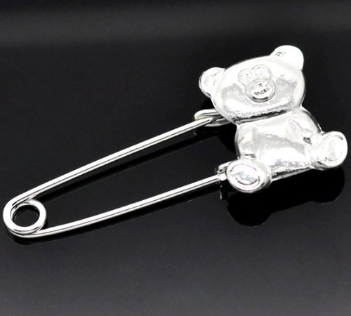 10 Silver Plated Bear Safety Pins Brooches 5.8X2.5Cm