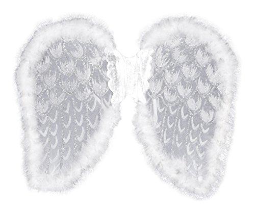 Boland 52818 - Ali da angelo glitterate, circa 50 x 40 cm, Taglia unica, colore: Bianco