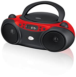 GPX, Inc.  Portable Top-Loading CD Boombox with AM/FM Radio and 3.5mm Line In for MP3 Device - Red/Black
