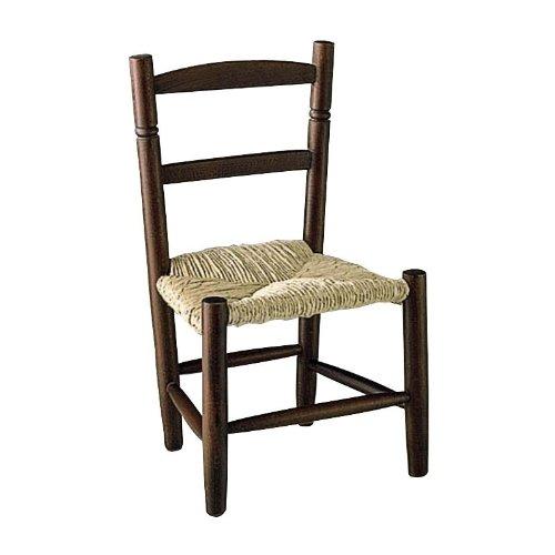 Chaise enfant en h tre teint marron avec si ge roseau for Chaise marron pas cher
