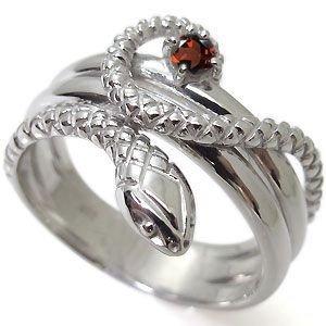 プレジュール スネーク ガーネット メンズリング 10金 ヘビ 蛇 指輪