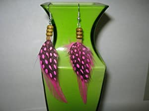 Handmade Hair feather extension Hot Pink Poka Dot Earrings