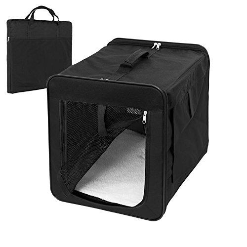 ECD-Germany-Klappbare-Transportbox-fr-Hund-und-Katze-S-420360410mm-inkl-Polster-aus-Lammfellimitat-Schwarz-Hundebox-Hundetransportbox-Autobox-Transporthtte