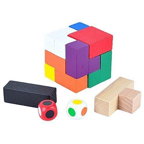 KINGOU Wooden Tetris Nine Color Magic Cube Puzzle Burr Puzzles Brain Teaser Intellectual Jigsaw Toy
