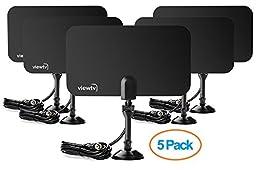 Viewtv Flat HD Digital Indoor TV Antenna 5 Pack Bundle- 25 Miles Range