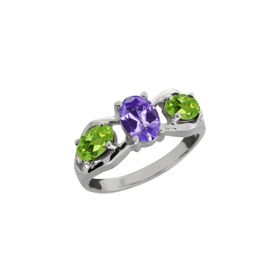 1.75 Ct Oval Blue Tanzanite and Green Peridot 14k White Gold Ring