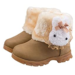 Taiycyxgan Baby Girls Toddler Infant Rabbit Snow Boots Winter Fur Shoes 9-72 Months