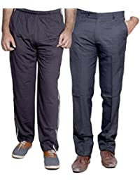 Indistar Mens Formal Trousers With Men's Premium Cotton Lower (Length Size -38) With 1 Zipper Pocket And 1 Open... - B01GEINP08