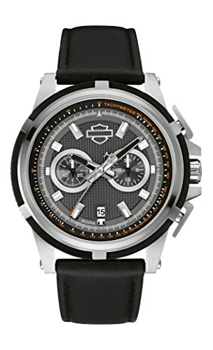 Harley Davidson Chronograph Men's Quartz Watch with Grey Dial Chronograph Display and Black Leather Strap 76B168
