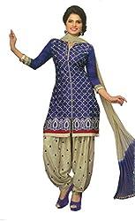 SGC Blue & Gray Cotton Embroidery unstitched churidar Patiyala (NKT-5105)
