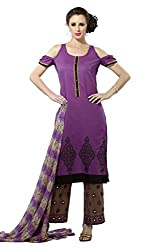 Adaa Women's Cotton Unstitched Dress Material (HS-VD-0655-A_Purple_Free Size)