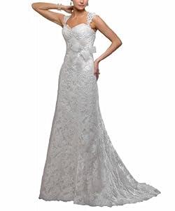 George Bride Elegant Lace Strap Sweetheart Neckline Wedding Dress