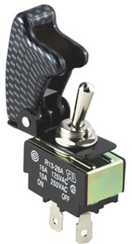 Pilot Anodized Safety Cover Toggle Switches - CARBON FIBER