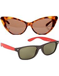 New Stylish UV Protected Combo Pack Of Sunglasses For Women / Girl ( BrownCateye-RedWayfarer ) ( CM-SUN-045 )